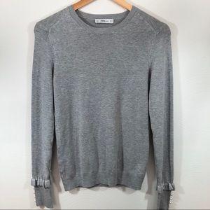 ZARA Knit Ruffle Pearl Wrist Gray Pullover Sz M